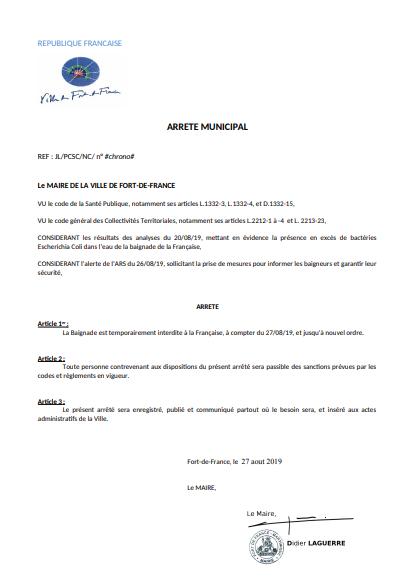La baignade est interdite à la plage de la Française à Fort-de-France