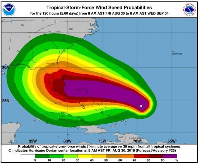 L'ouragan Dorian risque de frapper la Floride en catégorie 4