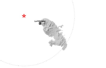 Un séisme ressenti ce midi au large du Prêcheur