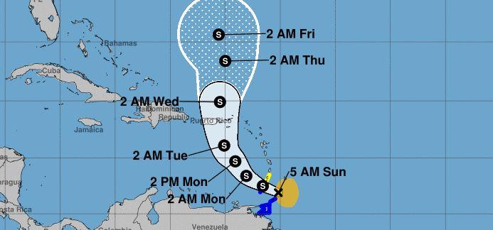 La tempête tropicale Karen s'est formée cette nuit au Sud-Est immédiat de l'Arc Antillais