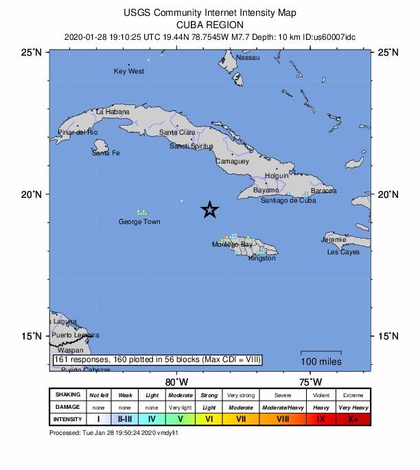 Un important séisme s'est produit entre Cuba et la Jamaïque