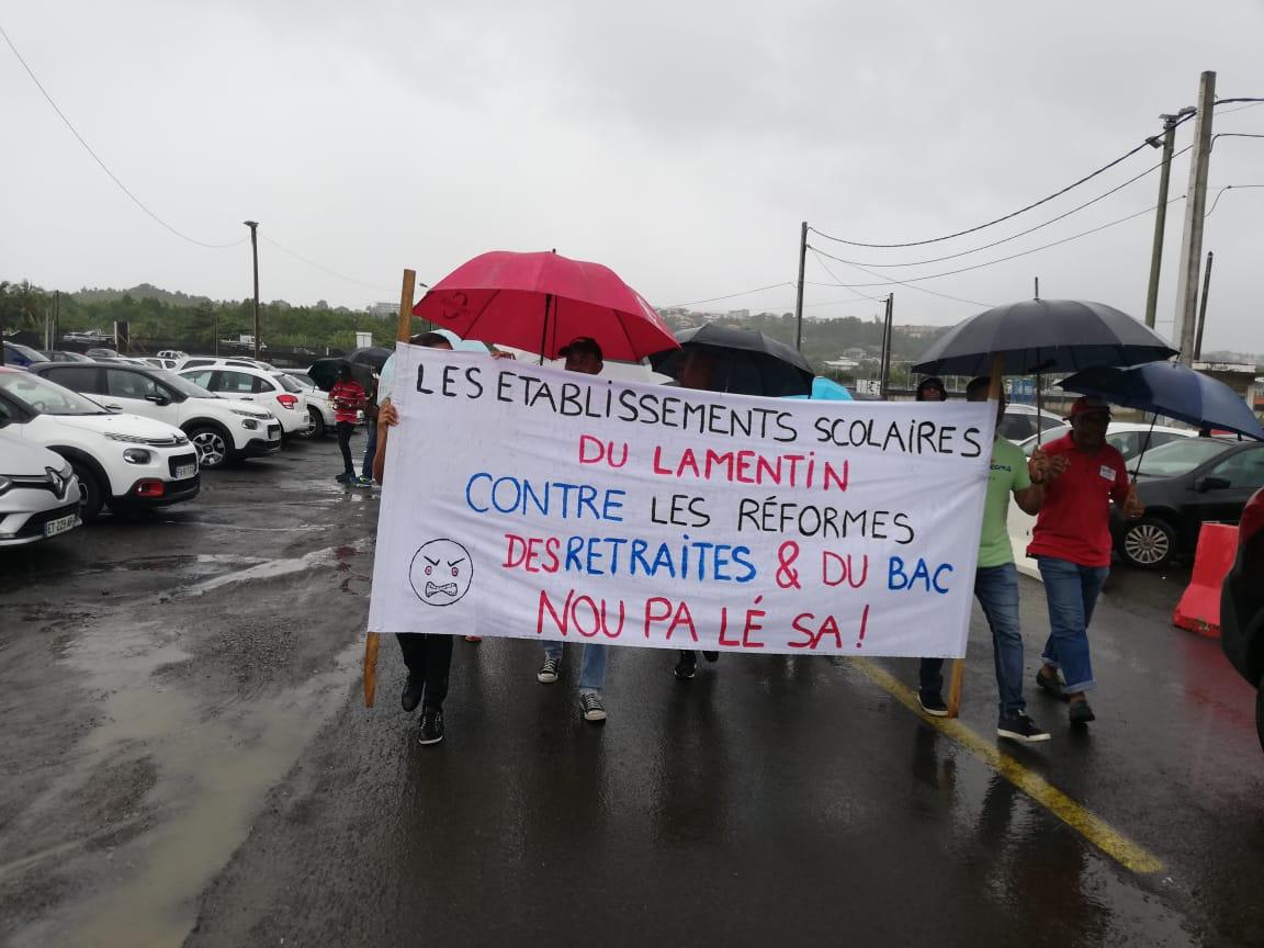 Nouvelle marche contre les réformes de retraite et du BAC au Lamentin
