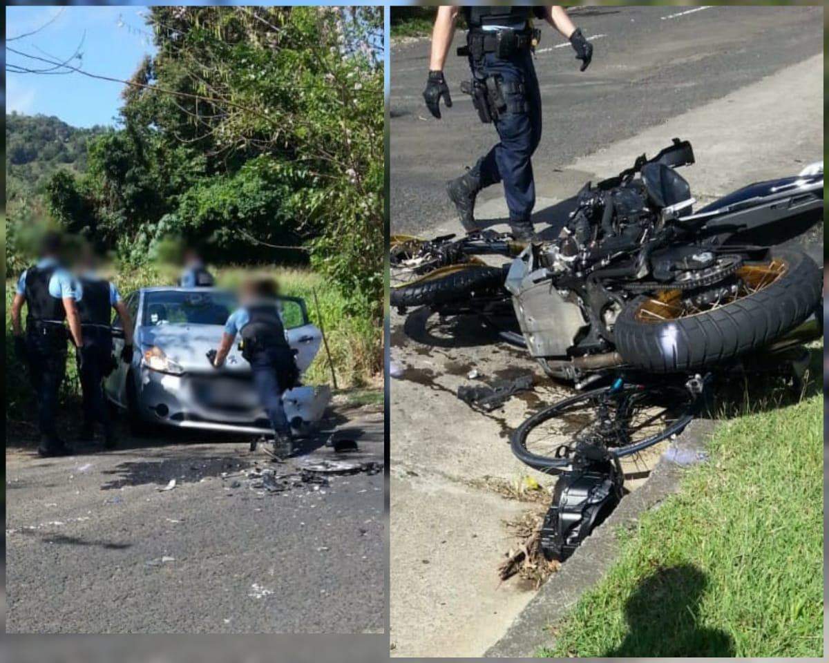 Trois blessés dans un accident impliquant une moto, une voiture et un cycliste au Vauclin