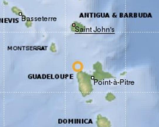 Un séisme de magnitude 4.1 au large de la Guadeloupe