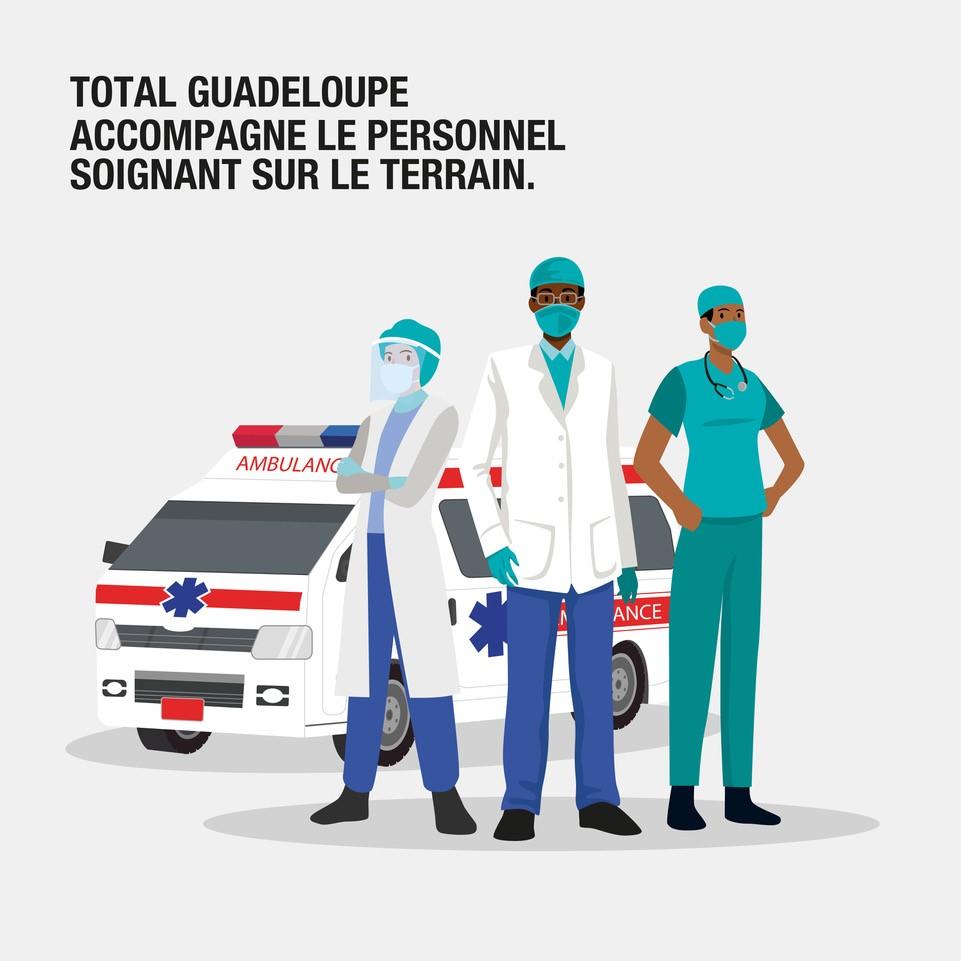 Total Guadeloupe soutient le personnel soignant