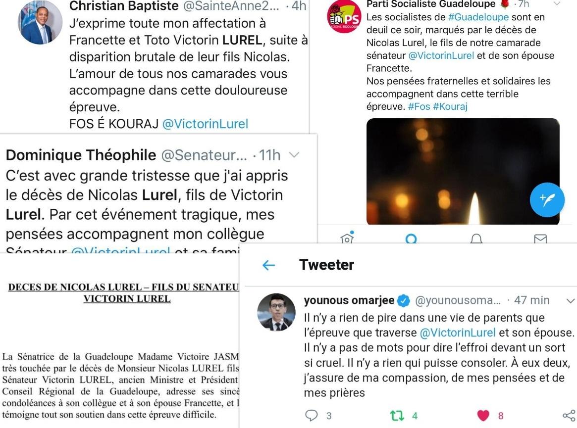 De nombreuses réactions après le décès du fils de Victorin Lurel