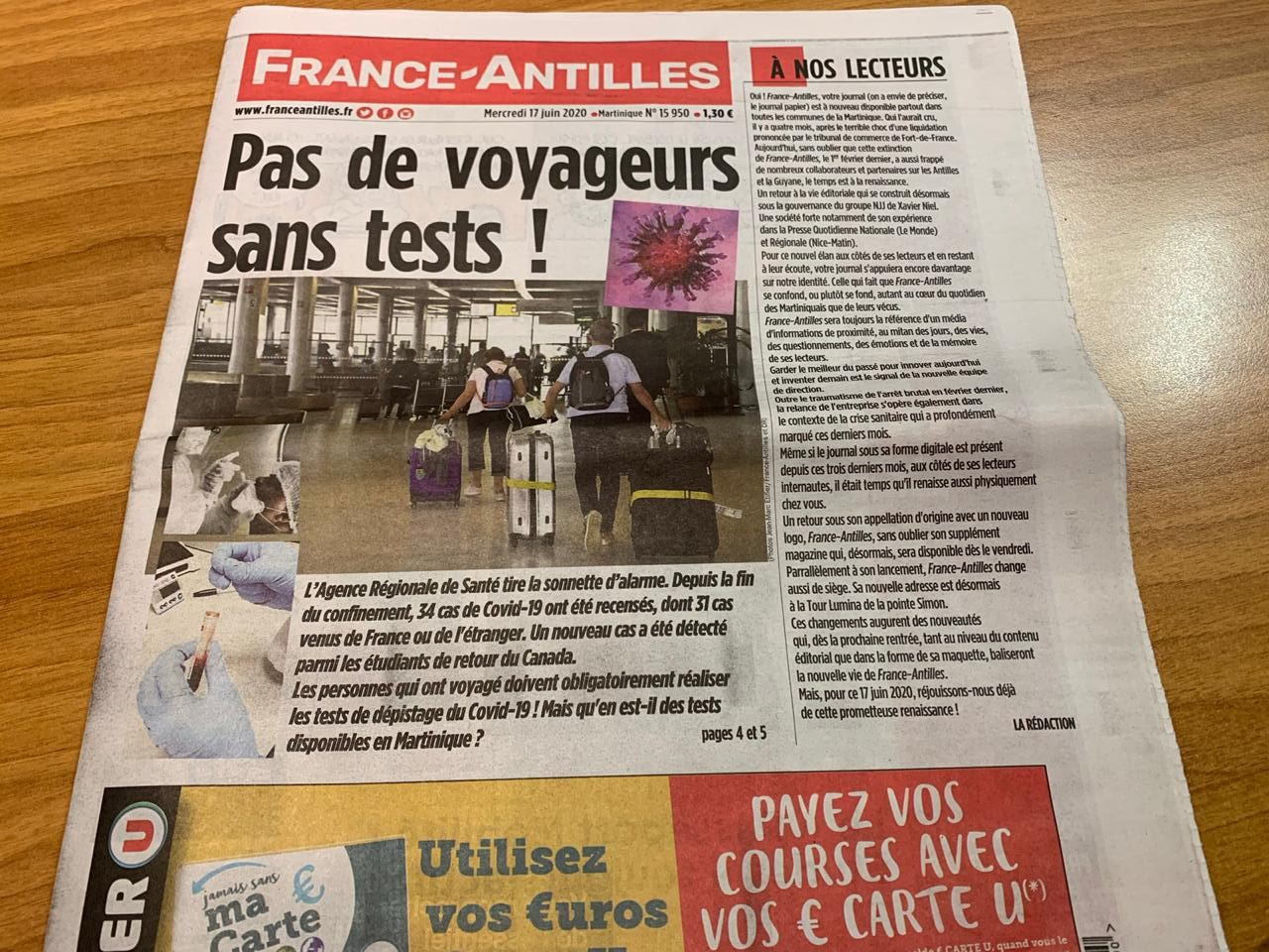 France-Antilles est de retour chez vos marchands de journaux