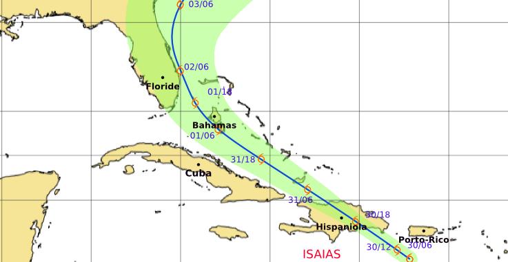 La tempête Isaias menace le Nord des Antilles