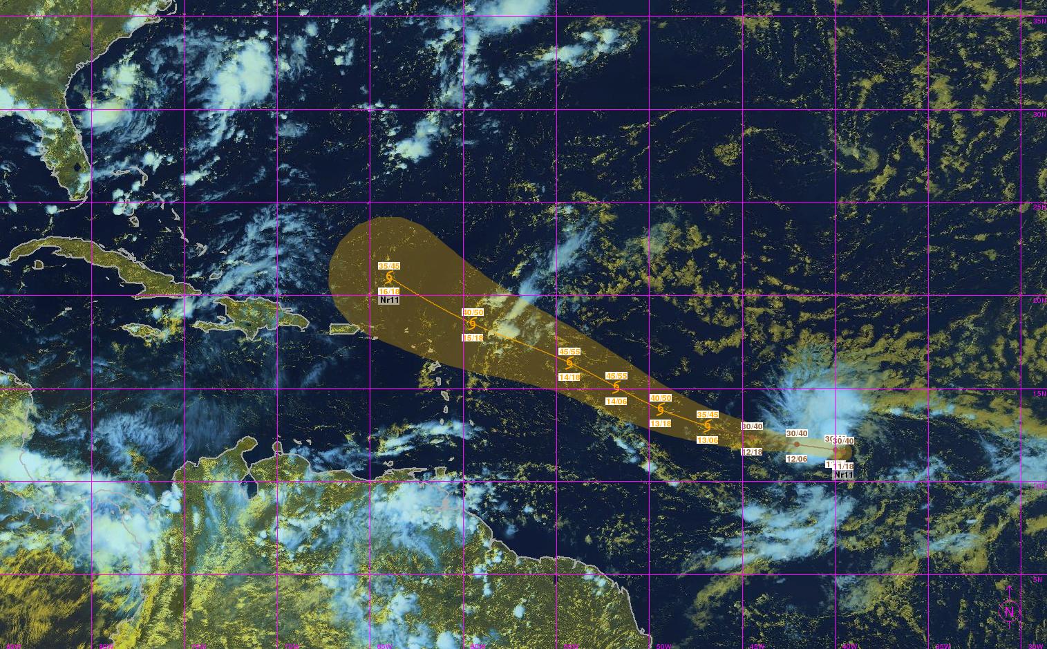 Formation de la dépression tropicale n°11