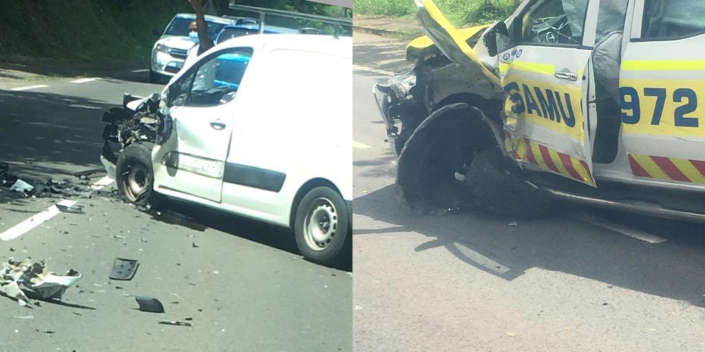 Collision entre un véhicule du Samu et un petit utilitaire