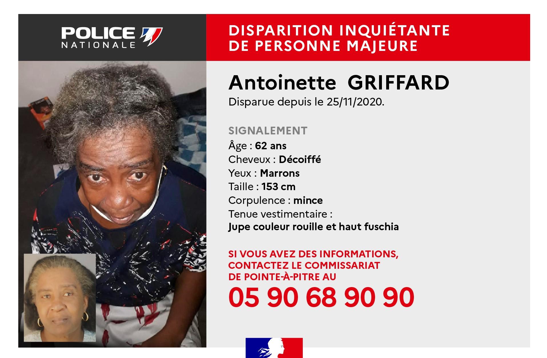 Appel à témoins : Antoinette Griffard demeure introuvable