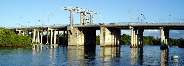 Une épave de voiture sous le pont de l'Alliance