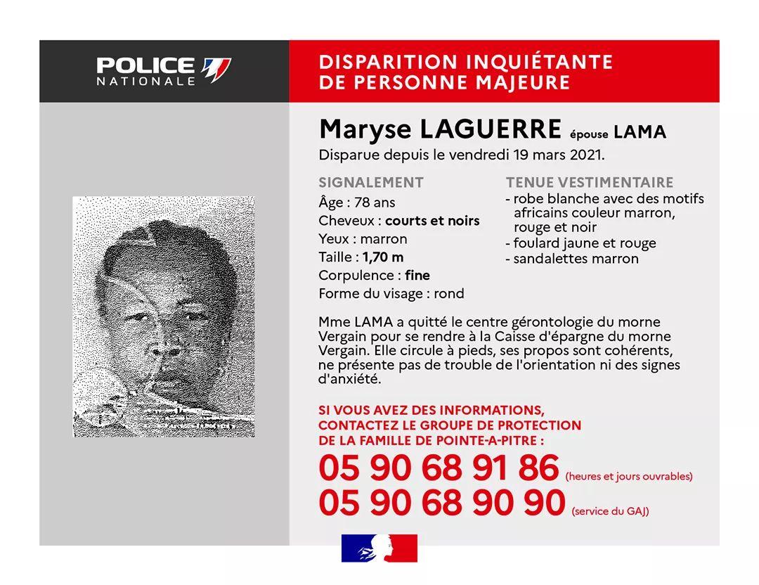 Appel à témoins : avez-vous vu Maryse Laguerre ?