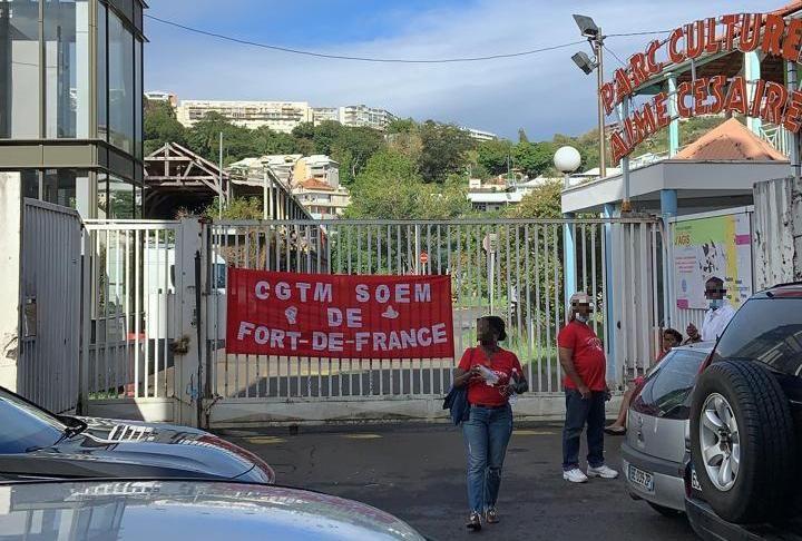 La CGTM-SOEM mobilisée devant le Parc Culturel Aimé Césaire