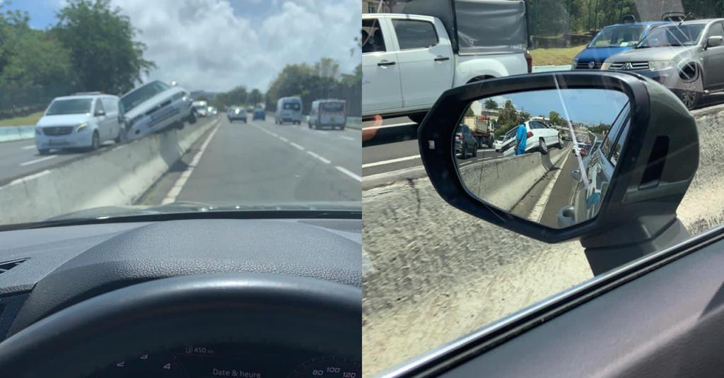 Circulation : une voiture grimpe sur le muret central de la Rocade