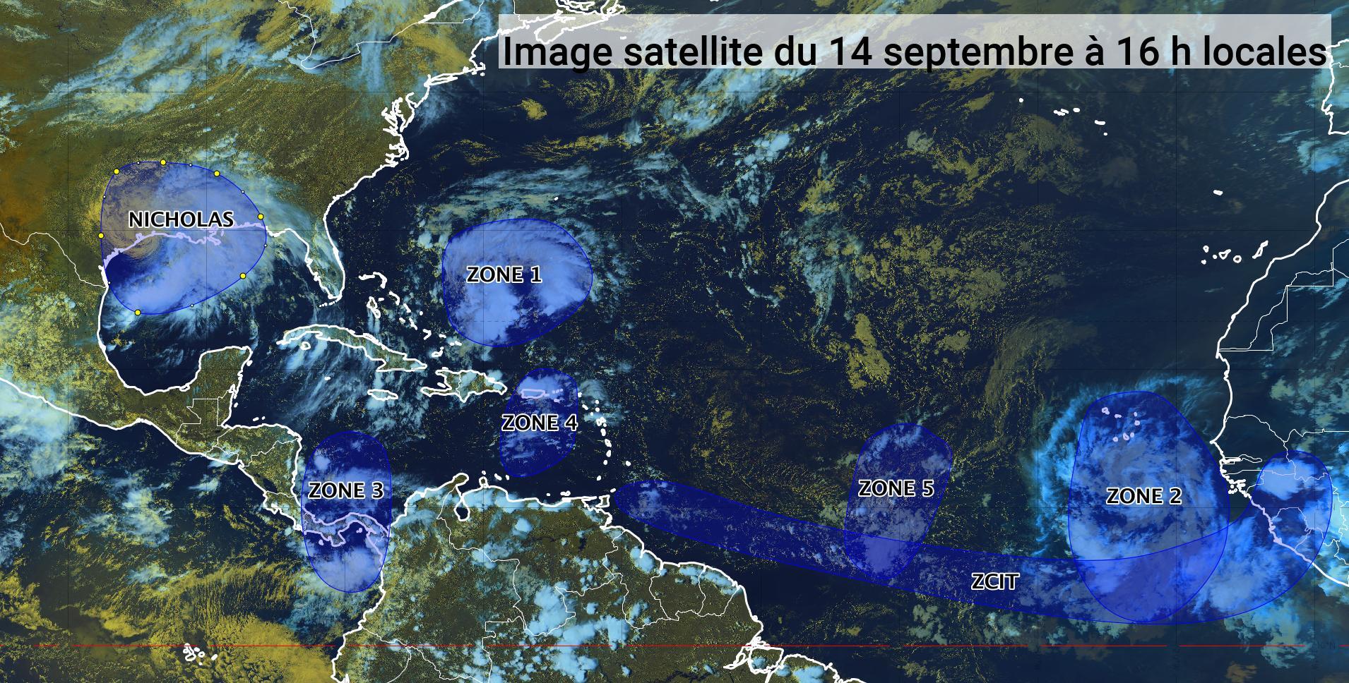 La tempête Nicholas sévit au Texas, deux autres zones sous surveillance (bulletin du 14/09/21)