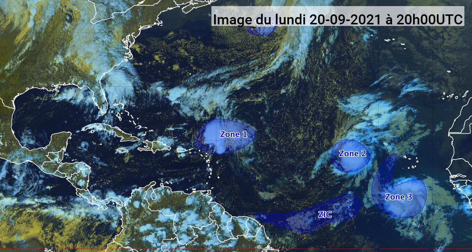 Peter et Rose, deux tempêtes tropicales identifiées mais sans risques (bulletin du 20/09/21)