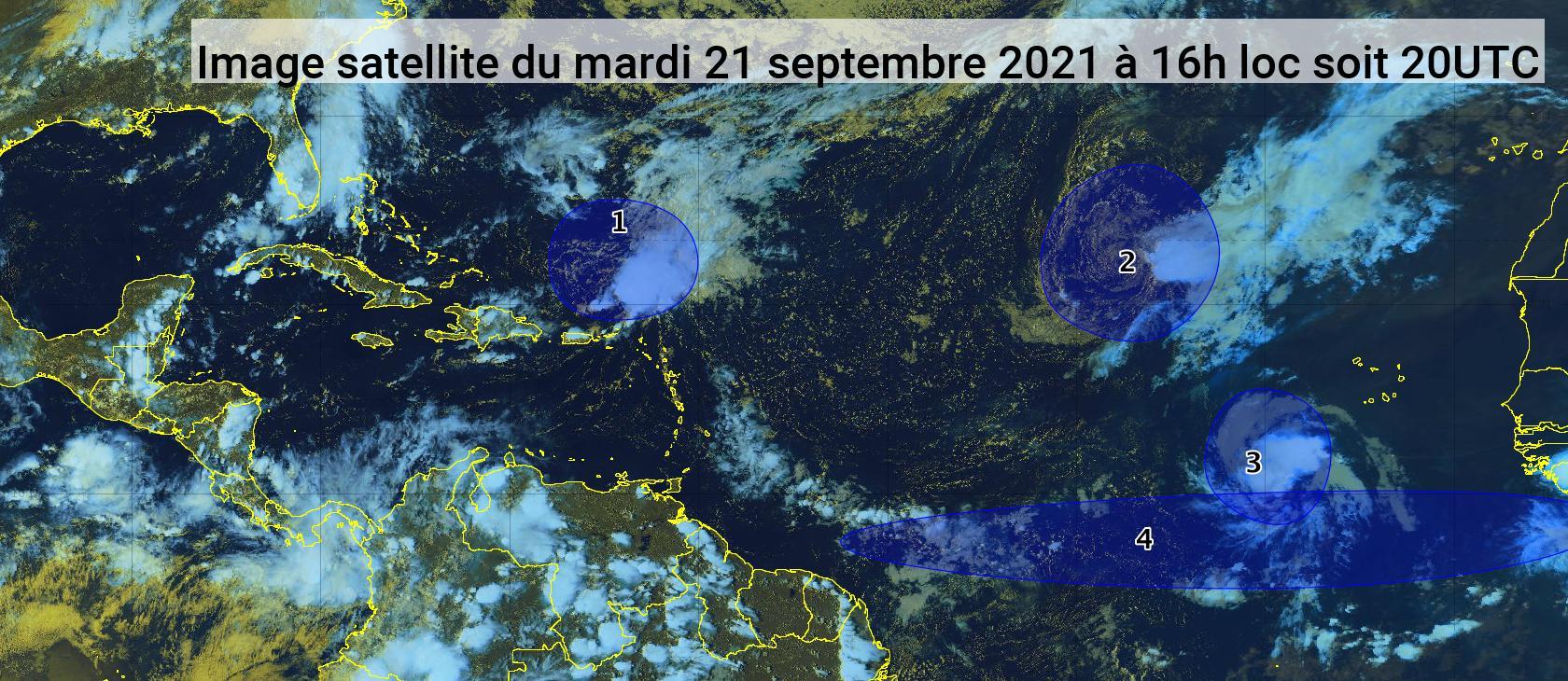 Deux phénomènes cycloniques et deux ondes tropicales dans l'Atlantique (bulletin du 21/09/21)