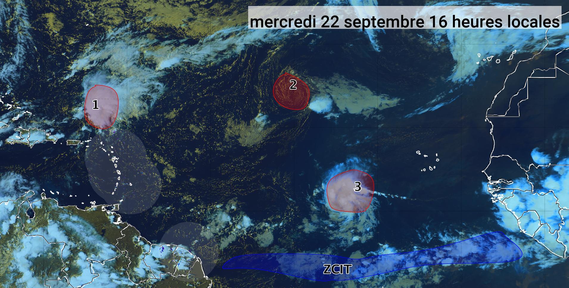 Trois phénomènes cycloniques dans l'Atlantique (bulletin du 22/09/21)