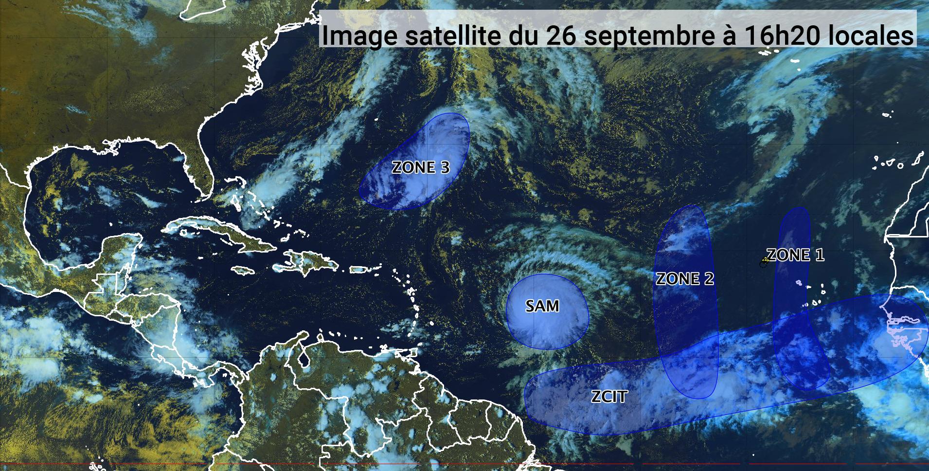 Sam attendu vers mercredi au nord-est de l'arc antillais (bulletin du 26/09/21)