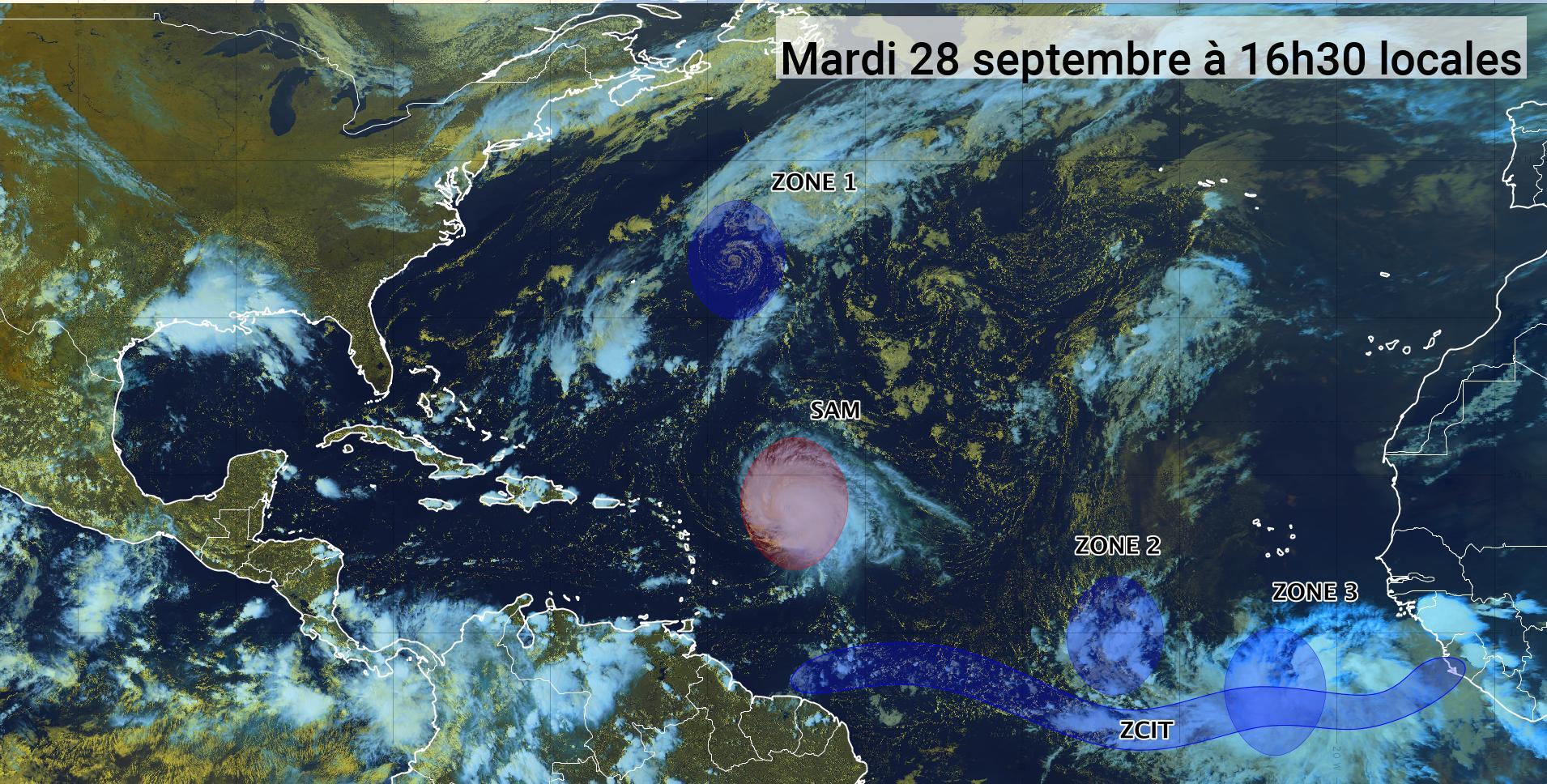 L'ouragan Sam revient en catégorie 4 et trois zones sont sous surveillance (bulletin du 28/09/21)