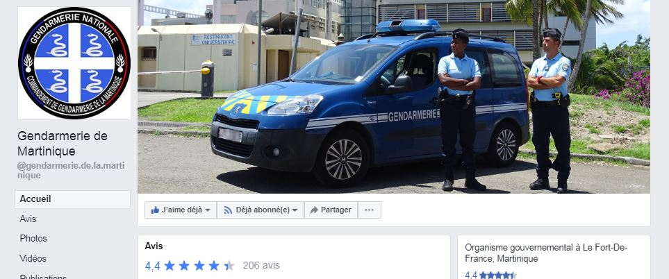 page facebook gendarmerie de Martinique