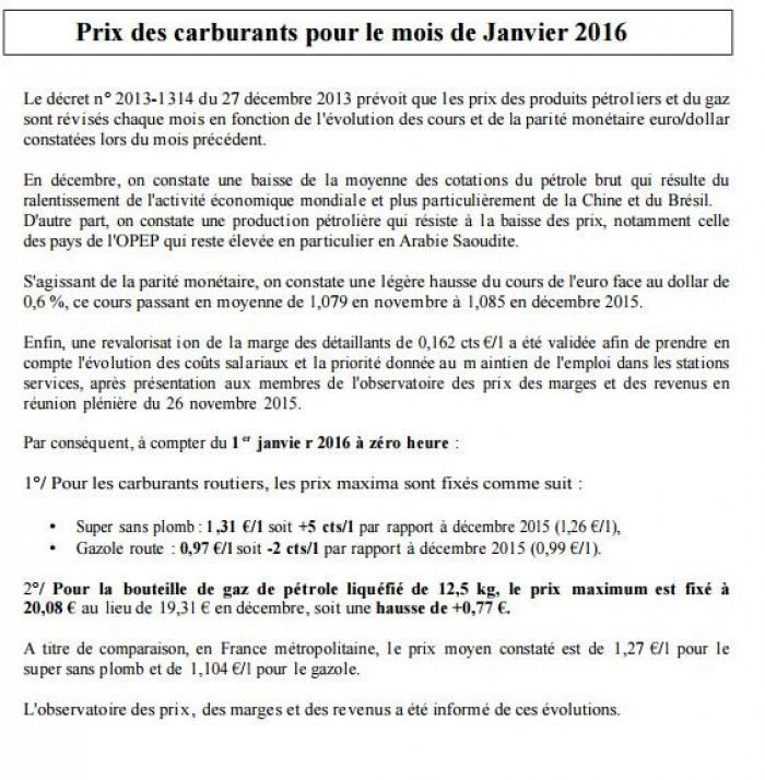 A la nouvelle année, le sans plomb grimpe de 5 centimes et le gazole baisse de 2 centimes en Martinique !