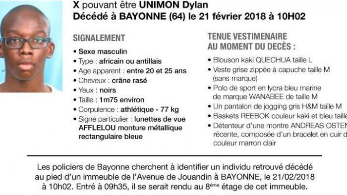 Bayonne : le corps retrouvé est bien celui de Dylan Unimon