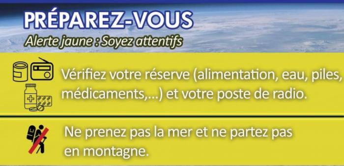 Beryl : vigilance jaune cyclone déclenchée par la  préfecture