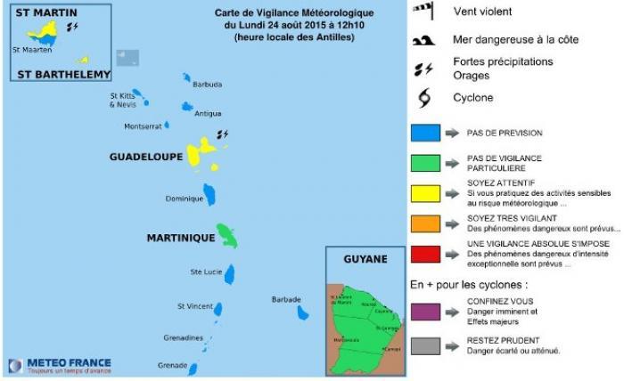 Danny s'est affaibli, la Guadeloupe passe en vigilance jaune