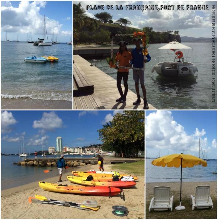 Des transats et des kayaks sur la plage de la Française