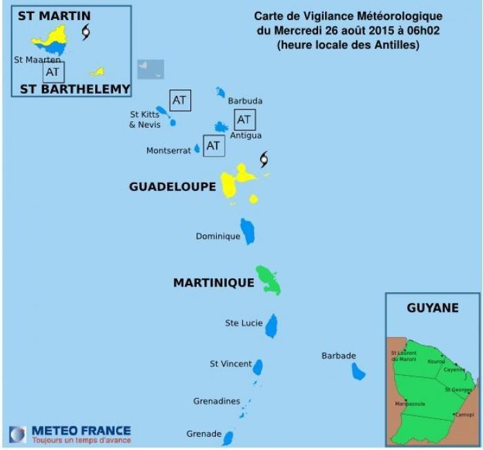 Erika : La Guadeloupe reste en vigilance jaune