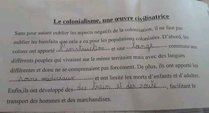 """Indignation autour d'un devoir sur les """"bienfaits du colonialisme"""""""