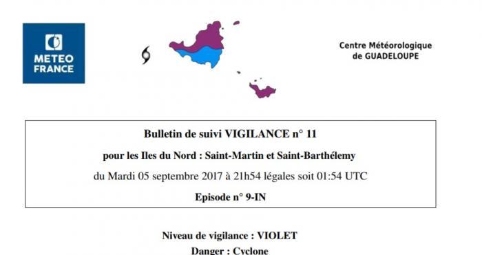 IRMA : Saint-Martin et Saint-Barthélemy virent au violet
