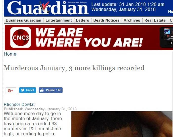 Janvier 2018 : le mois le plus meurtrier de l'histoire de Trinidad