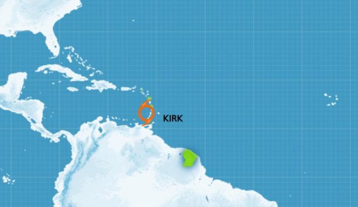 KIRK : vigilance orange fortes pluies et orages, jaune pour le vent et la mer