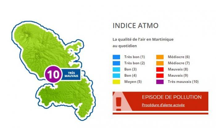 L'air est de très mauvaise qualité en Martinique, ce mercredi