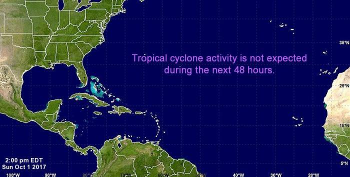 L'Atlantique vide de perturbations cycloniques pendant les prochaines 48 heures au moins