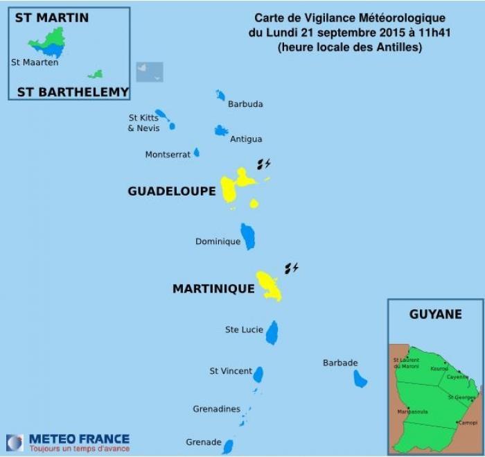 La Guadeloupe a été placée en vigilance jaune