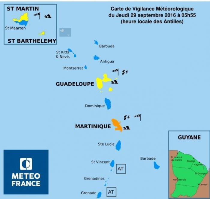 La Guadeloupe désormais en vigilance jaune