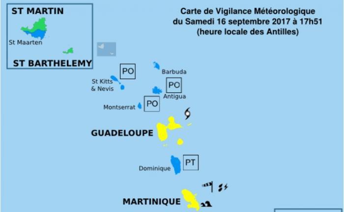 La Guadeloupe en vigilance jaune cyclone à l'approche de Maria