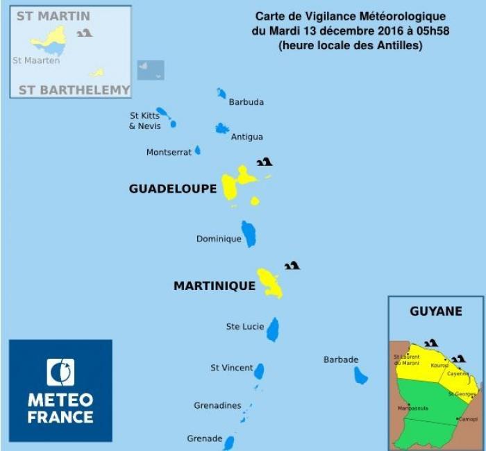 La Guadeloupe est vigilance jaune pour mer dangereuse en Atlantique et dans les canaux
