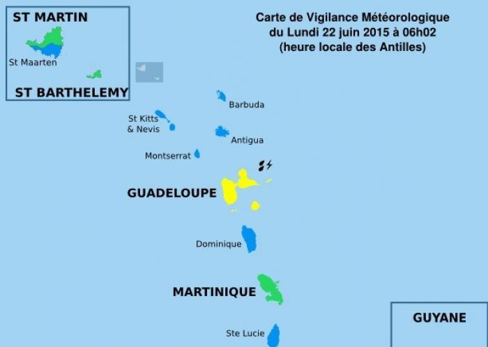 La Guadeloupe reste en vigilance jaune