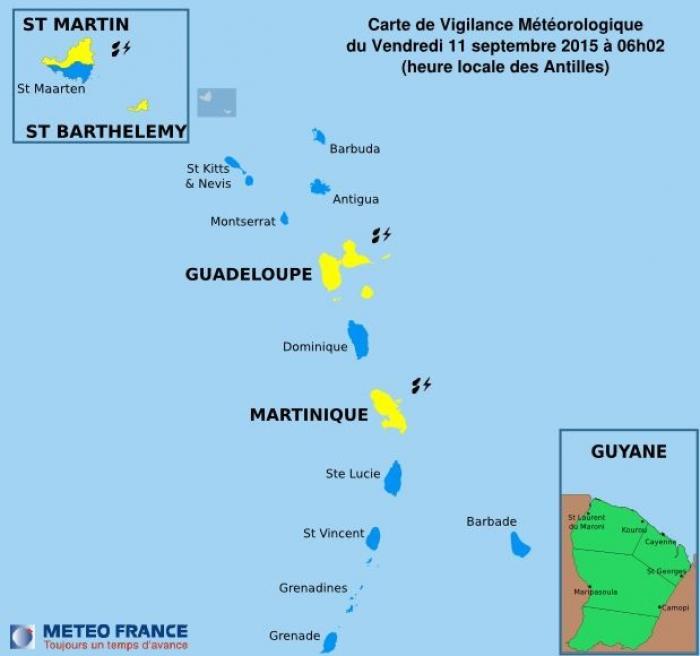 La Guadeloupe toujours en vigilance jaune