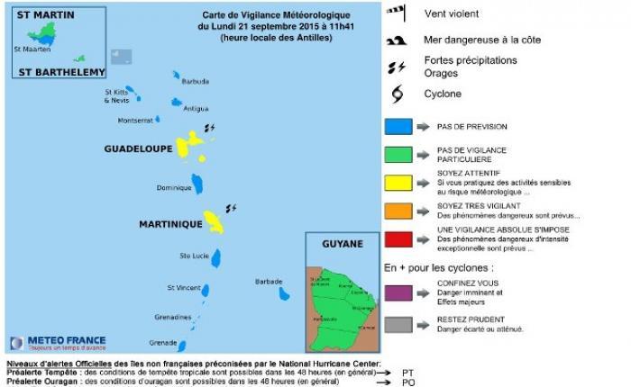 La Martinique a été placée en vigilance jaune