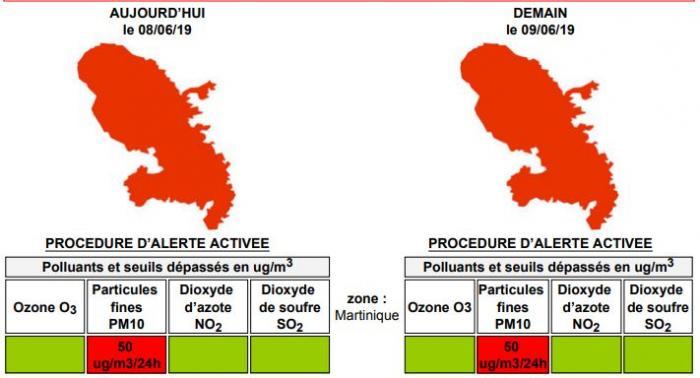 La Martinique est toujours placée en procédure d'alerte à cause de la brume de sable