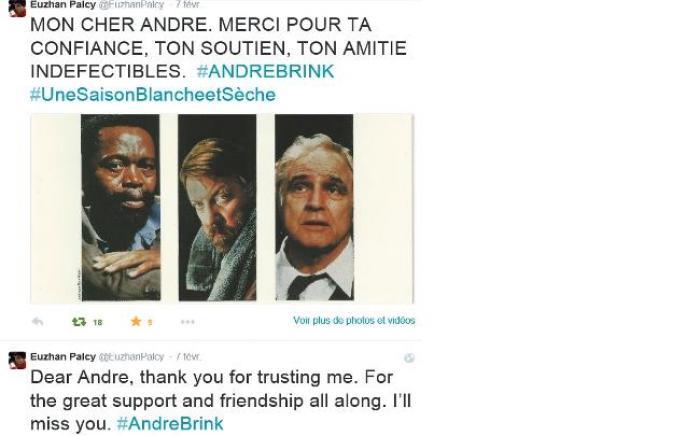 """La mort d'André Brink : """"Merci de m'avoir fait confiance"""" Euzhan Palcy"""