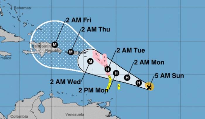 La trajectoire de Maria toujours au plus près de la Guadeloupe