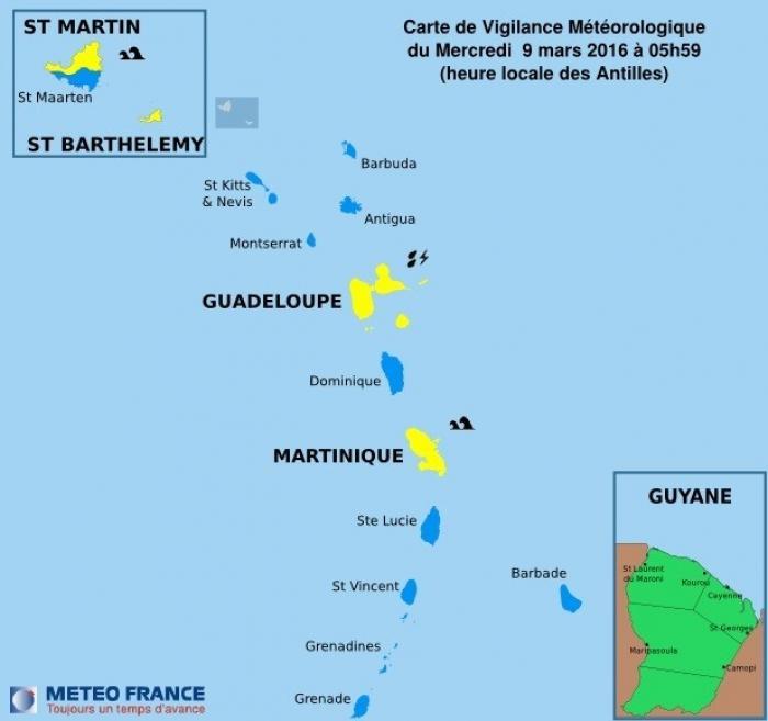 La vigilance jaune est activée pour la Guadeloupe
