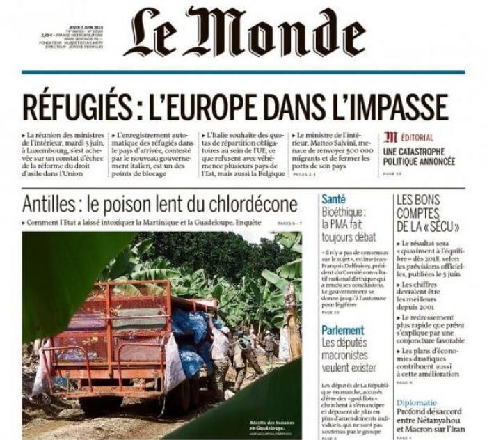 Le chlordécone à la Une du journal Le Monde